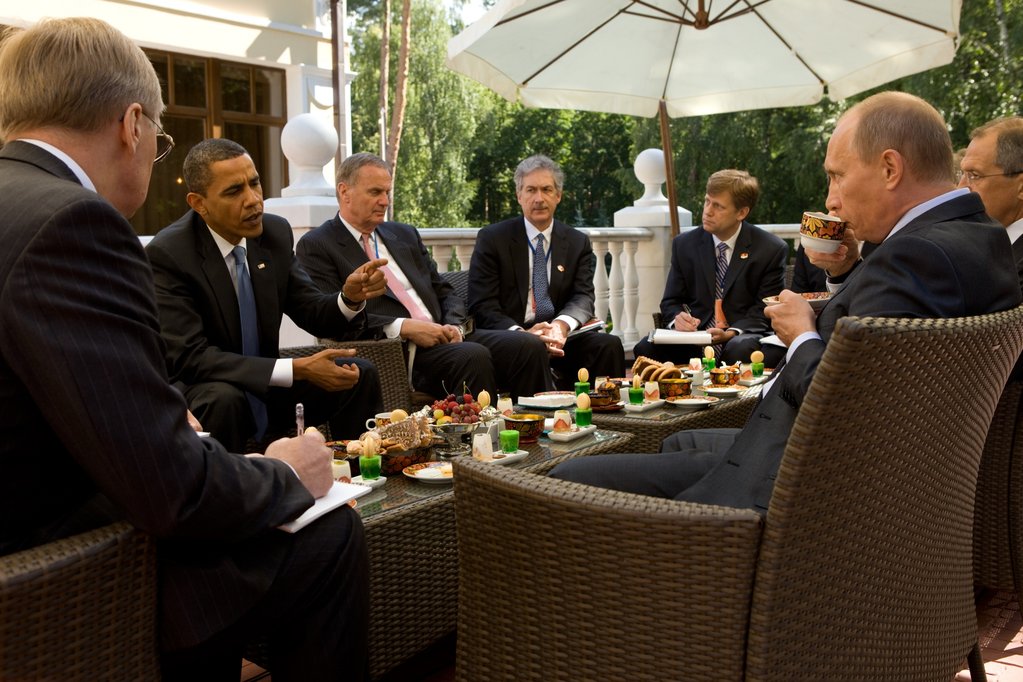 President Barack Obama and members of the American delegation, including National Security Advisor General Jim Jones, Under Secretary for Political Affairs Bill Burns, and NSC Senior Director for Russian Affairs Mike McFaul, meet with Prime Minister Vladimir Putin at his dacha outside Moscow, Russia, July 7, 2009.  (Official White House Photo by Pete Souza)