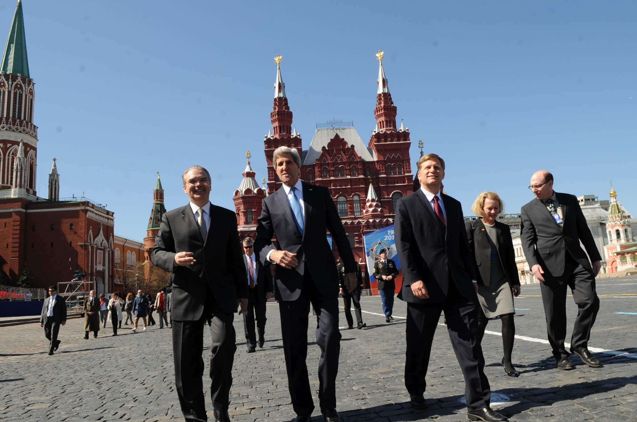 U.S. Secretary of State John Kerry, accompanied by U.S Ambassador to Russia Michael McFaul, right, and Russian Chief of Protocol Yuriy Filatov, left, tours Red Square during his visit to Moscow, Russia, on May 7, 2013. [State Department photo/ Public Domain]